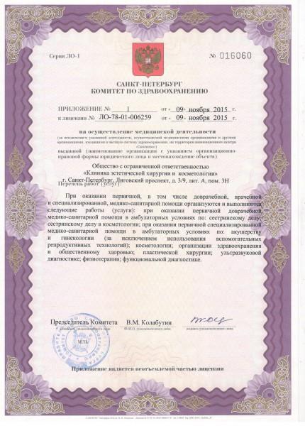 Лицензия на осуществление медицинской деятельности Клиники эстетической хирургии и косметологии